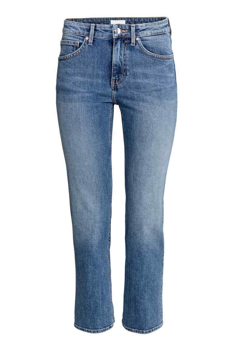 Straight Regular Ankle Jeans - style: straight leg; pattern: plain; waist: mid/regular rise; predominant colour: denim; occasions: casual, creative work; length: ankle length; fibres: cotton - stretch; jeans detail: shading down centre of thigh; texture group: denim; pattern type: fabric; season: s/s 2016