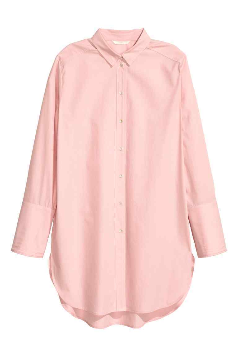Long Cotton Shirt - neckline: shirt collar/peter pan/zip with opening; length: below the bottom; style: shirt; pattern: pinstripe; secondary colour: white; predominant colour: blush; occasions: casual; fibres: cotton - 100%; fit: straight cut; sleeve length: long sleeve; sleeve style: standard; texture group: cotton feel fabrics; pattern type: fabric; pattern size: light/subtle; season: s/s 2016