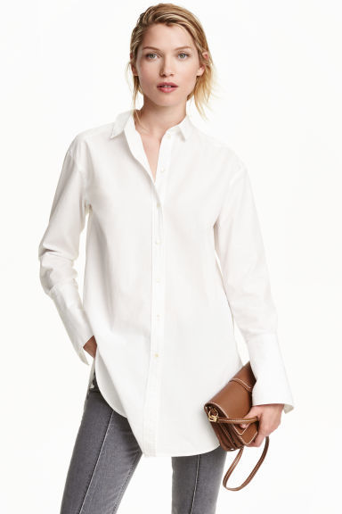 Long Cotton Shirt - neckline: shirt collar/peter pan/zip with opening; pattern: plain; length: below the bottom; style: shirt; predominant colour: white; occasions: casual; fibres: cotton - 100%; fit: loose; sleeve length: long sleeve; sleeve style: standard; texture group: cotton feel fabrics; pattern type: fabric; season: s/s 2016; wardrobe: basic