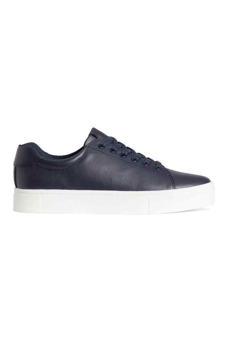Trainers - predominant colour: navy; occasions: casual, creative work; material: faux leather; heel height: flat; toe: round toe; style: trainers; finish: plain; pattern: plain; shoe detail: moulded soul; season: s/s 2016; wardrobe: highlight