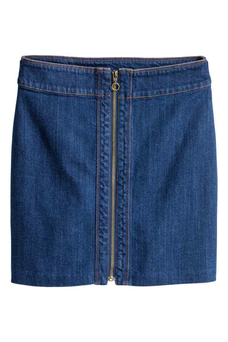 Denim Skirt - length: mini; pattern: plain; style: pencil; waist: mid/regular rise; predominant colour: denim; occasions: casual, creative work; fibres: cotton - 100%; texture group: denim; fit: straight cut; pattern type: fabric; season: s/s 2016; wardrobe: basic