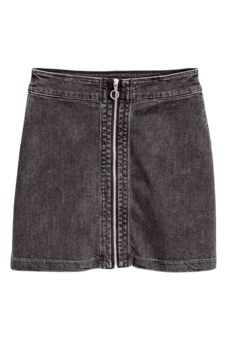 Denim Skirt - length: mid thigh; pattern: plain; style: straight; waist: mid/regular rise; predominant colour: black; occasions: casual, creative work; fibres: cotton - 100%; texture group: denim; fit: straight cut; pattern type: fabric; season: s/s 2016; wardrobe: basic