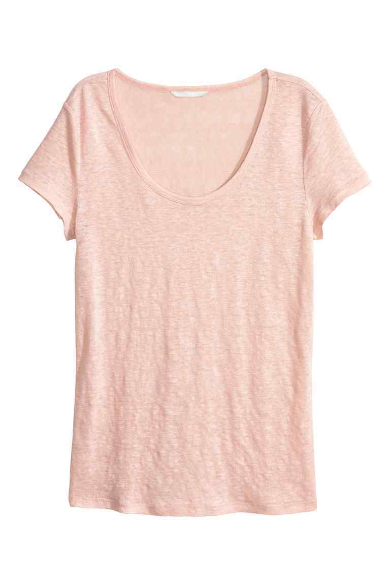 Top In Linen Jersey - pattern: plain; style: t-shirt; predominant colour: pink; occasions: casual, creative work; length: standard; neckline: scoop; fibres: linen - 100%; fit: loose; sleeve length: short sleeve; sleeve style: standard; pattern type: fabric; texture group: jersey - stretchy/drapey; season: s/s 2016; wardrobe: highlight