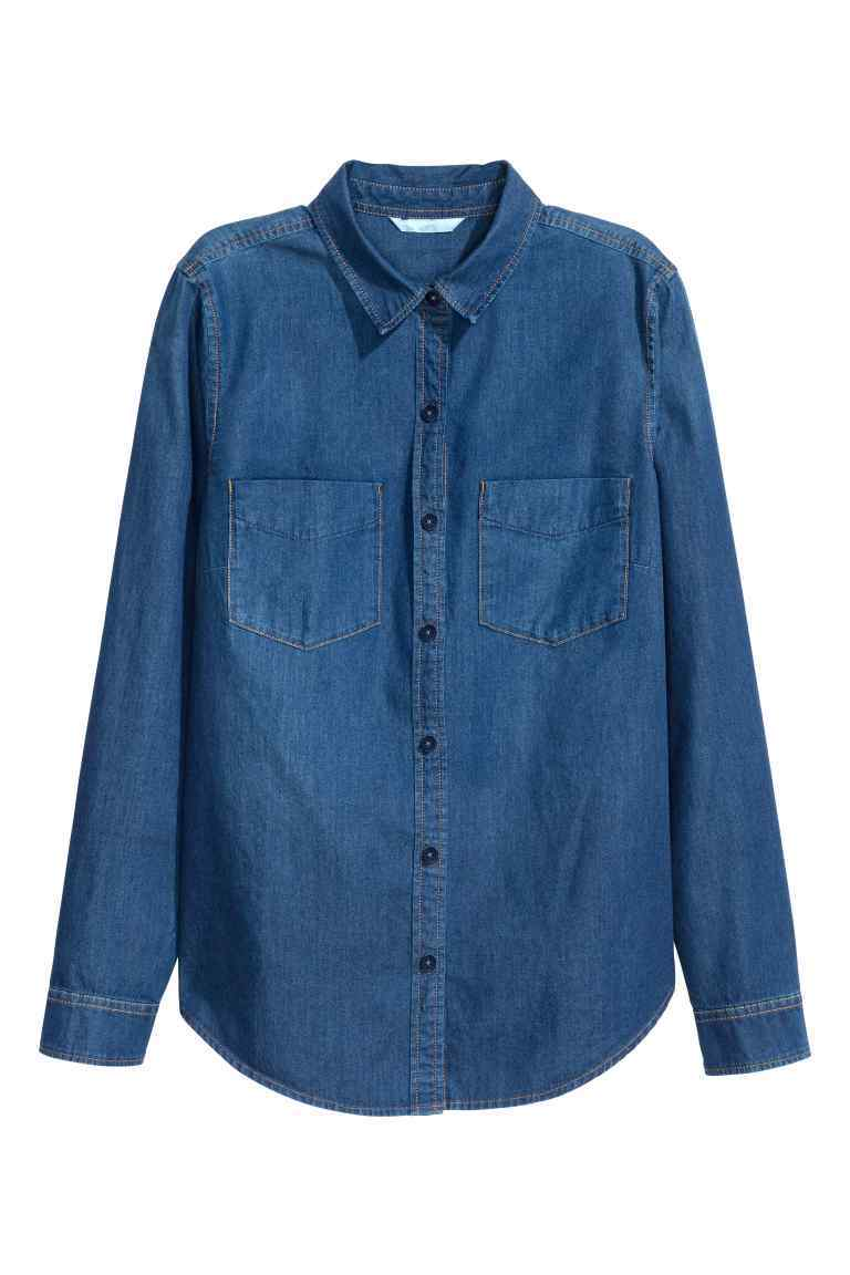 Denim Shirt - neckline: shirt collar/peter pan/zip with opening; pattern: plain; length: below the bottom; style: shirt; predominant colour: denim; occasions: casual, creative work; fibres: cotton - 100%; fit: straight cut; sleeve length: long sleeve; sleeve style: standard; texture group: denim; pattern type: fabric; season: s/s 2016; wardrobe: basic