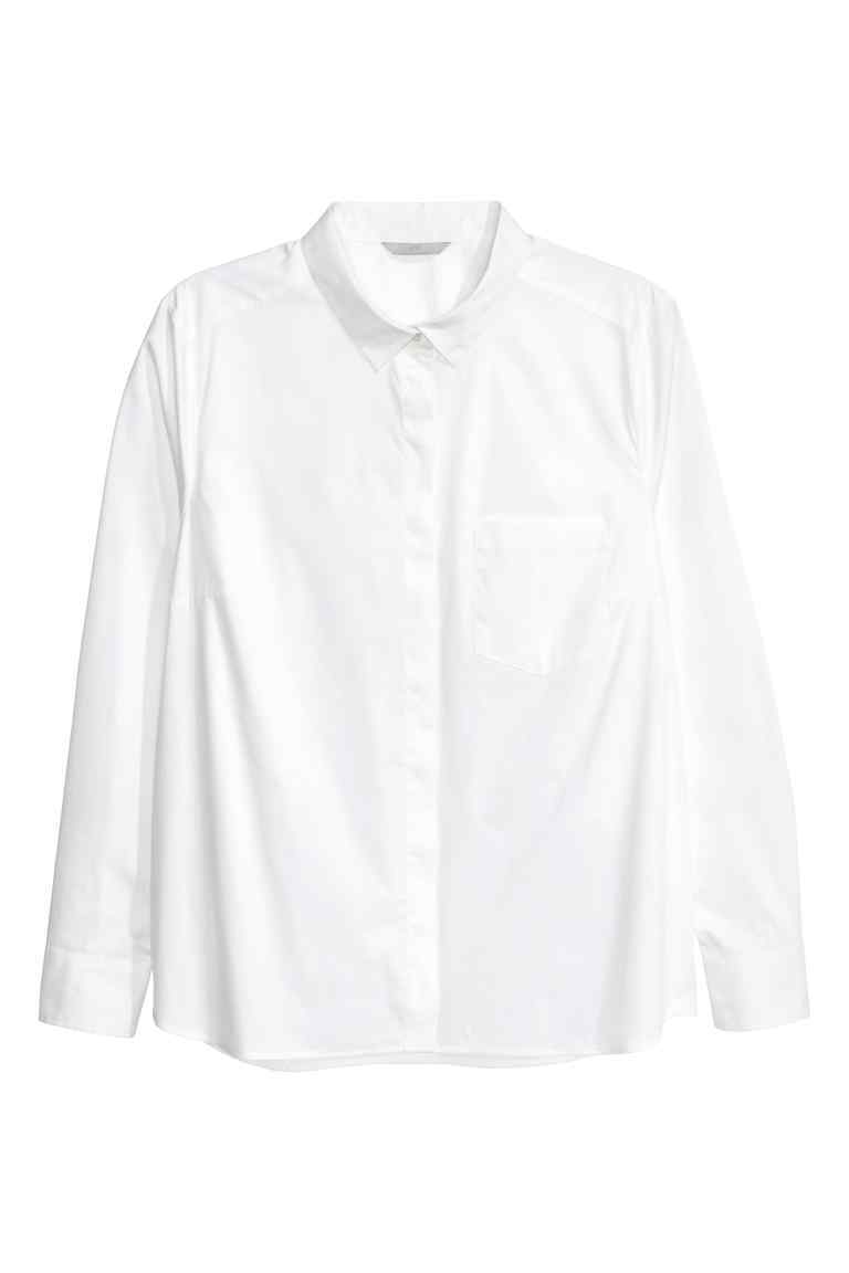 + Fitted Shirt - neckline: shirt collar/peter pan/zip with opening; pattern: plain; style: shirt; predominant colour: white; occasions: casual, creative work; length: standard; fibres: cotton - 100%; fit: straight cut; sleeve length: long sleeve; sleeve style: standard; texture group: cotton feel fabrics; pattern type: fabric; season: s/s 2016; wardrobe: basic