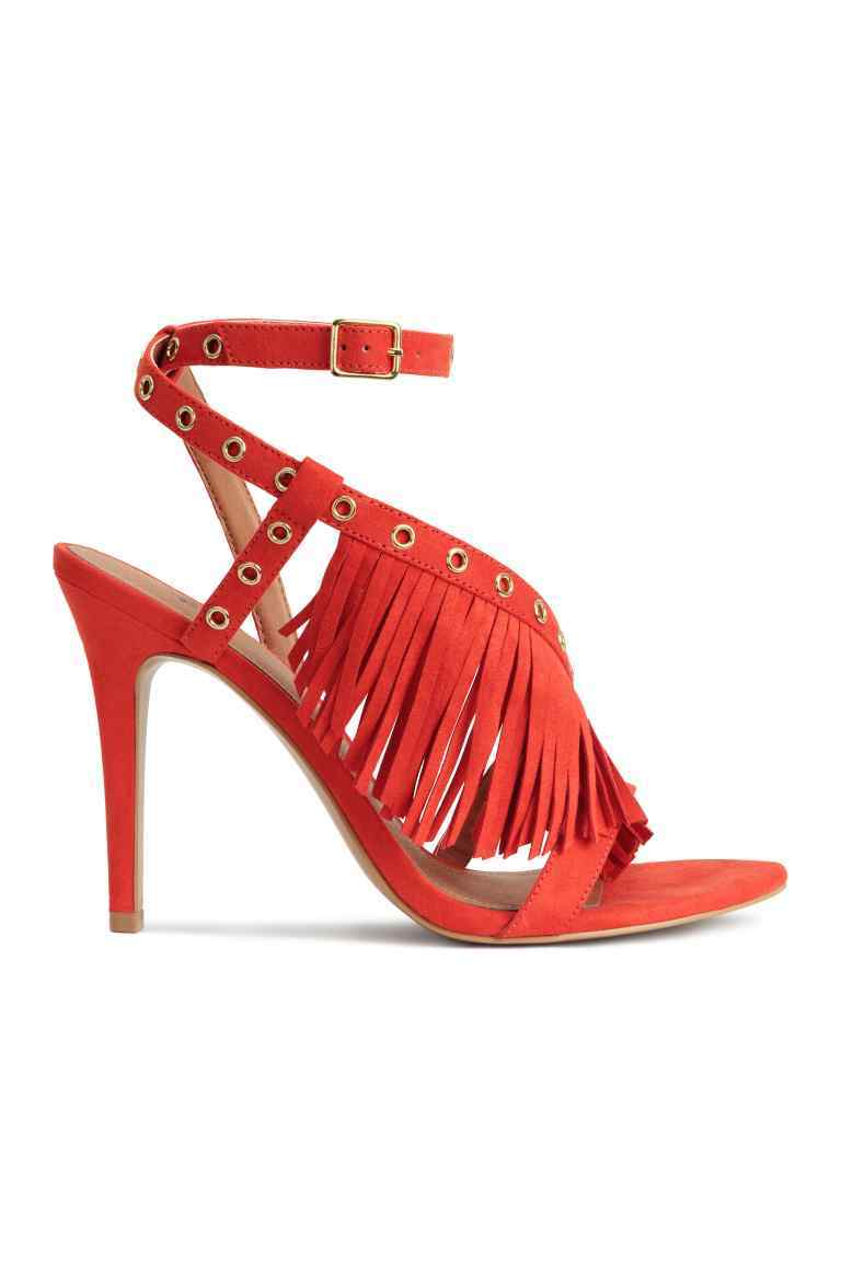 Sandals With Fringes - predominant colour: black; occasions: evening, occasion; material: suede; heel height: high; ankle detail: ankle strap; heel: stiletto; toe: open toe/peeptoe; style: strappy; finish: plain; pattern: plain; season: s/s 2016; wardrobe: event