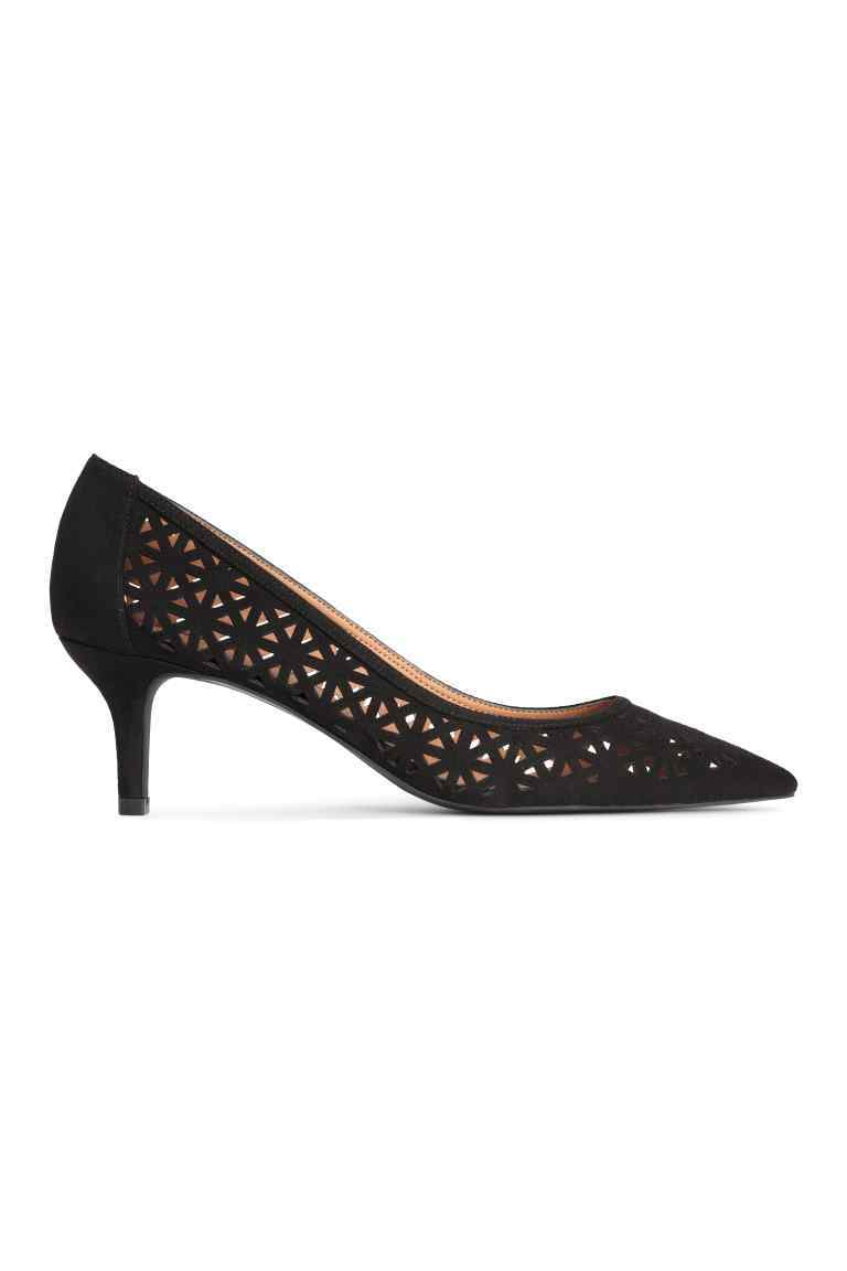 Hole Patterned Court Shoes - predominant colour: black; occasions: evening; material: faux leather; heel height: high; heel: stiletto; toe: pointed toe; style: courts; finish: plain; pattern: plain; season: s/s 2016; wardrobe: event
