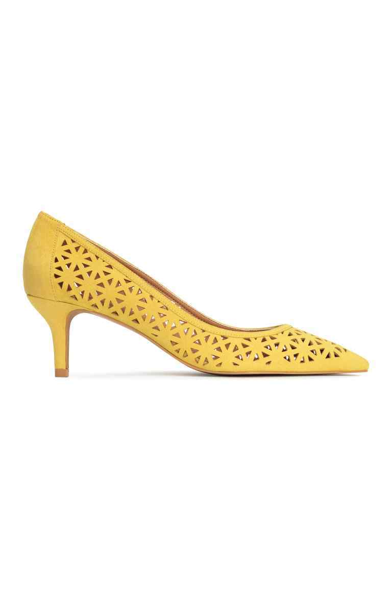Hole Patterned Court Shoes - predominant colour: yellow; occasions: evening; material: faux leather; heel height: mid; heel: stiletto; toe: pointed toe; style: courts; finish: plain; pattern: plain; season: s/s 2016; wardrobe: event