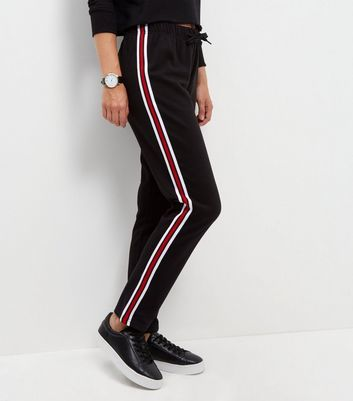 Black Tape Stripe Straight Leg Joggers - length: standard; pattern: striped; waist: mid/regular rise; secondary colour: white; predominant colour: black; occasions: casual, creative work; fibres: cotton - mix; fit: straight leg; pattern type: fabric; texture group: woven light midweight; style: standard; pattern size: standard (bottom); season: s/s 2016