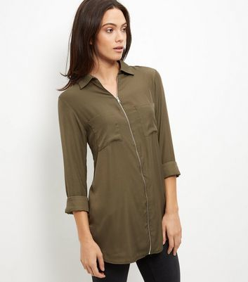 Khaki Zip Front Shirt - neckline: shirt collar/peter pan/zip with opening; pattern: plain; style: shirt; predominant colour: khaki; occasions: casual, creative work; fibres: polyester/polyamide - 100%; fit: body skimming; length: mid thigh; sleeve length: 3/4 length; sleeve style: standard; pattern type: fabric; texture group: other - light to midweight; season: s/s 2016; wardrobe: basic