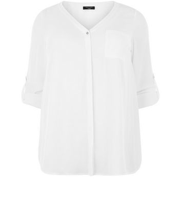 Curves White Roll Sleeve Shirt - neckline: v-neck; pattern: plain; style: shirt; predominant colour: white; occasions: casual, work, creative work; length: standard; fibres: polyester/polyamide - 100%; fit: body skimming; sleeve length: half sleeve; sleeve style: standard; pattern type: fabric; texture group: other - light to midweight; season: s/s 2016; wardrobe: basic