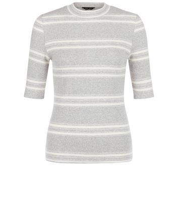Grey Stripe Funnel Neck 1/2 Sleeve Top - pattern: horizontal stripes; secondary colour: ivory/cream; predominant colour: light grey; occasions: casual, creative work; length: standard; style: top; fibres: cotton - stretch; fit: tight; neckline: crew; sleeve length: half sleeve; sleeve style: standard; pattern type: fabric; pattern size: standard; texture group: jersey - stretchy/drapey; season: s/s 2016; wardrobe: basic