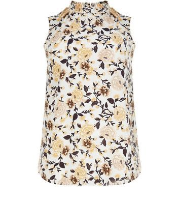 Curves White Floral Print Sleeveless Top - sleeve style: sleeveless; neckline: high neck; predominant colour: white; secondary colour: black; occasions: casual; length: standard; style: top; fibres: polyester/polyamide - stretch; fit: body skimming; sleeve length: sleeveless; pattern type: fabric; pattern: florals; texture group: other - light to midweight; multicoloured: multicoloured; season: s/s 2016
