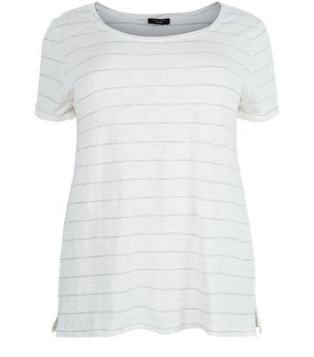 Curves White Stripe T Shirt - neckline: round neck; pattern: horizontal stripes; style: t-shirt; predominant colour: white; secondary colour: light grey; occasions: casual; length: standard; fibres: cotton - mix; fit: body skimming; sleeve length: short sleeve; sleeve style: standard; pattern type: fabric; pattern size: standard; texture group: jersey - stretchy/drapey; multicoloured: multicoloured; season: s/s 2016