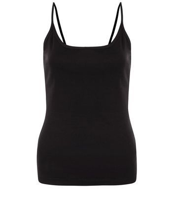 Black Scoop Neck Cami - sleeve style: spaghetti straps; pattern: plain; style: camisole; predominant colour: black; occasions: casual; length: standard; neckline: scoop; fibres: cotton - 100%; fit: body skimming; sleeve length: sleeveless; pattern type: fabric; texture group: jersey - stretchy/drapey; season: s/s 2016; wardrobe: basic