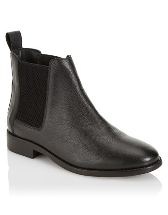 Basic Chelsea Boots - predominant colour: black; occasions: casual, creative work; material: leather; heel height: flat; embellishment: elasticated; heel: block; toe: round toe; boot length: ankle boot; finish: plain; pattern: plain; style: chelsea; season: s/s 2016; wardrobe: basic