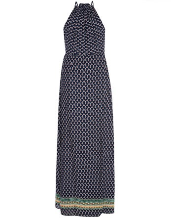 High Neck Maxi Dress - sleeve style: sleeveless; style: maxi dress; length: ankle length; pattern: polka dot; secondary colour: white; predominant colour: navy; fit: body skimming; fibres: polyester/polyamide - 100%; sleeve length: sleeveless; occasions: holiday; pattern type: fabric; texture group: woven light midweight; season: s/s 2016; neckline: high halter neck