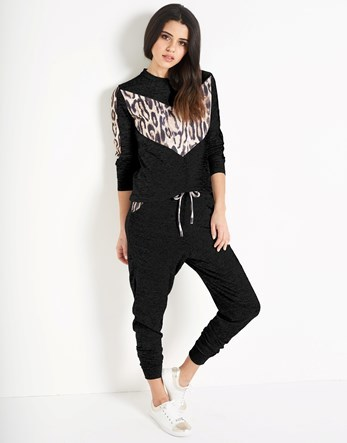 Leopard Print Trim Joggers - length: standard; style: tracksuit pants; waist detail: belted waist/tie at waist/drawstring; waist: mid/regular rise; predominant colour: black; occasions: casual; fibres: polyester/polyamide - stretch; fit: slim leg; pattern type: fabric; pattern: animal print; texture group: jersey - stretchy/drapey; pattern size: light/subtle (bottom); season: s/s 2016; wardrobe: highlight