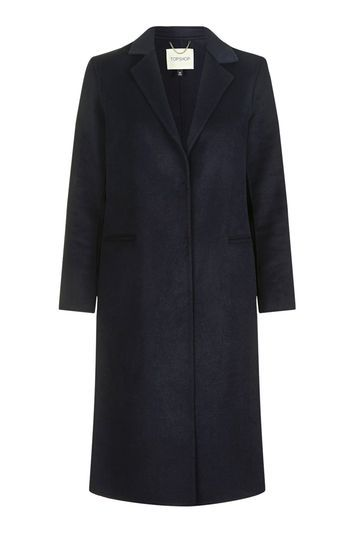 Wool Butted Seam Coat - pattern: plain; style: single breasted; length: on the knee; collar: standard lapel/rever collar; predominant colour: navy; occasions: casual, work; fit: straight cut (boxy); fibres: wool - mix; sleeve length: long sleeve; sleeve style: standard; collar break: medium; pattern type: fabric; texture group: woven bulky/heavy; trends: chic girl, tomboy girl; season: s/s 2016; wardrobe: basic