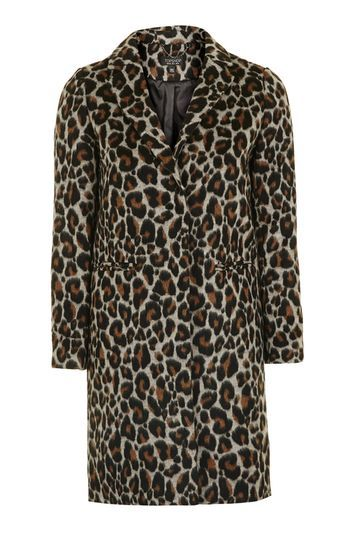 Leopard Print Coat - style: single breasted; collar: standard lapel/rever collar; length: mid thigh; secondary colour: tan; predominant colour: stone; occasions: casual, creative work; fit: straight cut (boxy); fibres: wool - mix; sleeve length: long sleeve; sleeve style: standard; collar break: medium; pattern type: fabric; pattern: animal print; texture group: woven bulky/heavy; multicoloured: multicoloured; trends: glossy girl, pretty girl; season: s/s 2016