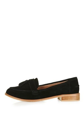 Lottie Suede Loafers - predominant colour: black; occasions: casual, creative work; material: suede; heel height: flat; embellishment: tassels; toe: round toe; style: loafers; finish: plain; pattern: plain; season: s/s 2016