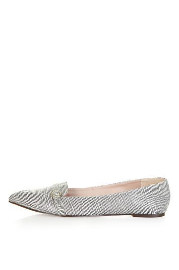 Vain Strap Point Shoe - predominant colour: light grey; occasions: casual, creative work; material: faux leather; heel height: flat; toe: pointed toe; style: ballerinas / pumps; finish: plain; pattern: patterned/print; trends: glossy girl; season: s/s 2016; wardrobe: highlight
