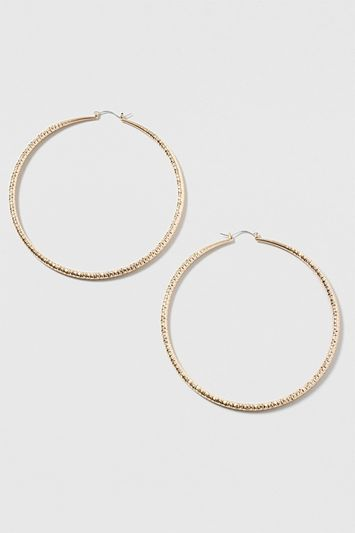 Mega Twist Hoop Earrings - predominant colour: gold; occasions: evening; style: drop; length: mid; size: standard; material: chain/metal; fastening: pierced; finish: metallic; embellishment: jewels/stone; season: s/s 2016; wardrobe: event
