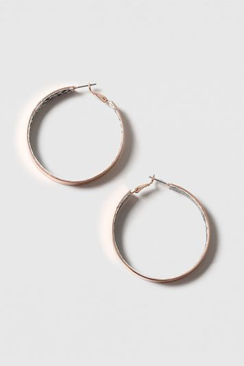 Snake Inlay Hoop Earrings - predominant colour: gold; occasions: evening; style: hoop; length: mid; size: standard; material: chain/metal; fastening: pierced; finish: metallic; embellishment: chain/metal; season: s/s 2016; wardrobe: event