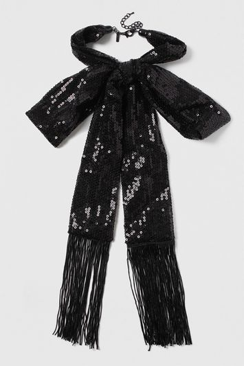 Sequin Bow Necklace - predominant colour: black; occasions: evening, occasion; length: long; size: large/oversized; material: fabric/cotton; finish: metallic; embellishment: sequins; season: s/s 2016; style: scarf/wrap