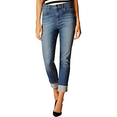 Turn Up Jeans, Denim - style: straight leg; pattern: plain; pocket detail: traditional 5 pocket; waist: mid/regular rise; predominant colour: denim; occasions: casual; length: calf length; fibres: cotton - stretch; jeans detail: shading down centre of thigh; jeans & bottoms detail: turn ups; texture group: denim; pattern type: fabric; season: s/s 2016; wardrobe: basic