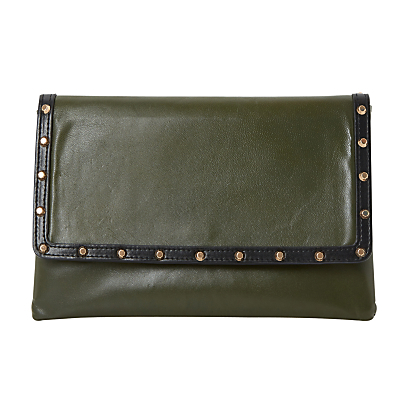 Bairo Studded Envelope Clutch Bag - predominant colour: dark green; secondary colour: black; occasions: evening, occasion; type of pattern: light; style: clutch; length: hand carry; size: standard; material: faux leather; embellishment: studs; pattern: plain; finish: plain; season: s/s 2016; wardrobe: event