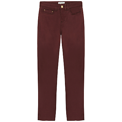 Weston Trousers - length: standard; pattern: plain; pocket detail: traditional 5 pocket; style: slim leg; waist: mid/regular rise; predominant colour: burgundy; occasions: casual, creative work; fibres: cotton - stretch; texture group: denim; pattern type: fabric; season: s/s 2016; wardrobe: highlight