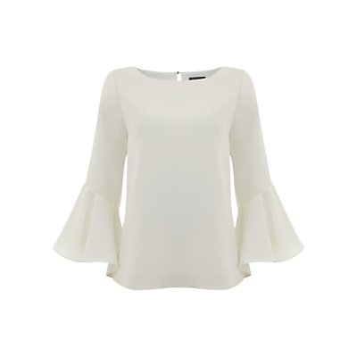 Fluted Sleeve Top, Ivory - neckline: round neck; pattern: plain; style: blouse; sleeve style: volant; predominant colour: ivory/cream; occasions: casual, evening; length: standard; fibres: polyester/polyamide - 100%; fit: straight cut; sleeve length: long sleeve; texture group: crepes; pattern type: fabric; season: s/s 2016; wardrobe: basic
