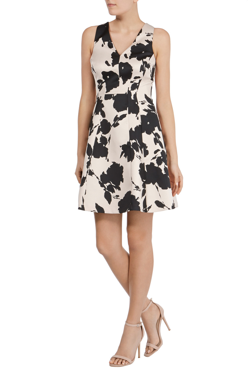 Belise Print Kristen Dress - neckline: v-neck; sleeve style: sleeveless; predominant colour: white; secondary colour: black; occasions: evening; length: just above the knee; fit: fitted at waist & bust; style: fit & flare; fibres: polyester/polyamide - 100%; sleeve length: sleeveless; pattern type: fabric; pattern size: big & busy; pattern: florals; texture group: other - light to midweight; multicoloured: multicoloured; season: s/s 2016; wardrobe: event