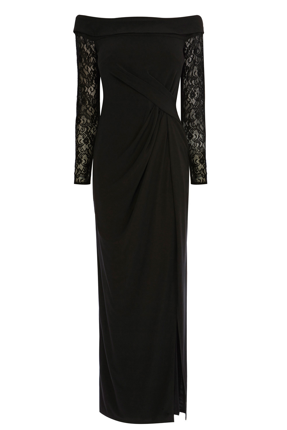 Esther Bardot Jersey Dress - neckline: off the shoulder; pattern: plain; style: maxi dress; predominant colour: black; occasions: evening; length: floor length; fit: body skimming; fibres: polyester/polyamide - stretch; sleeve length: long sleeve; sleeve style: standard; pattern type: fabric; texture group: jersey - stretchy/drapey; embellishment: lace; season: s/s 2016; wardrobe: event