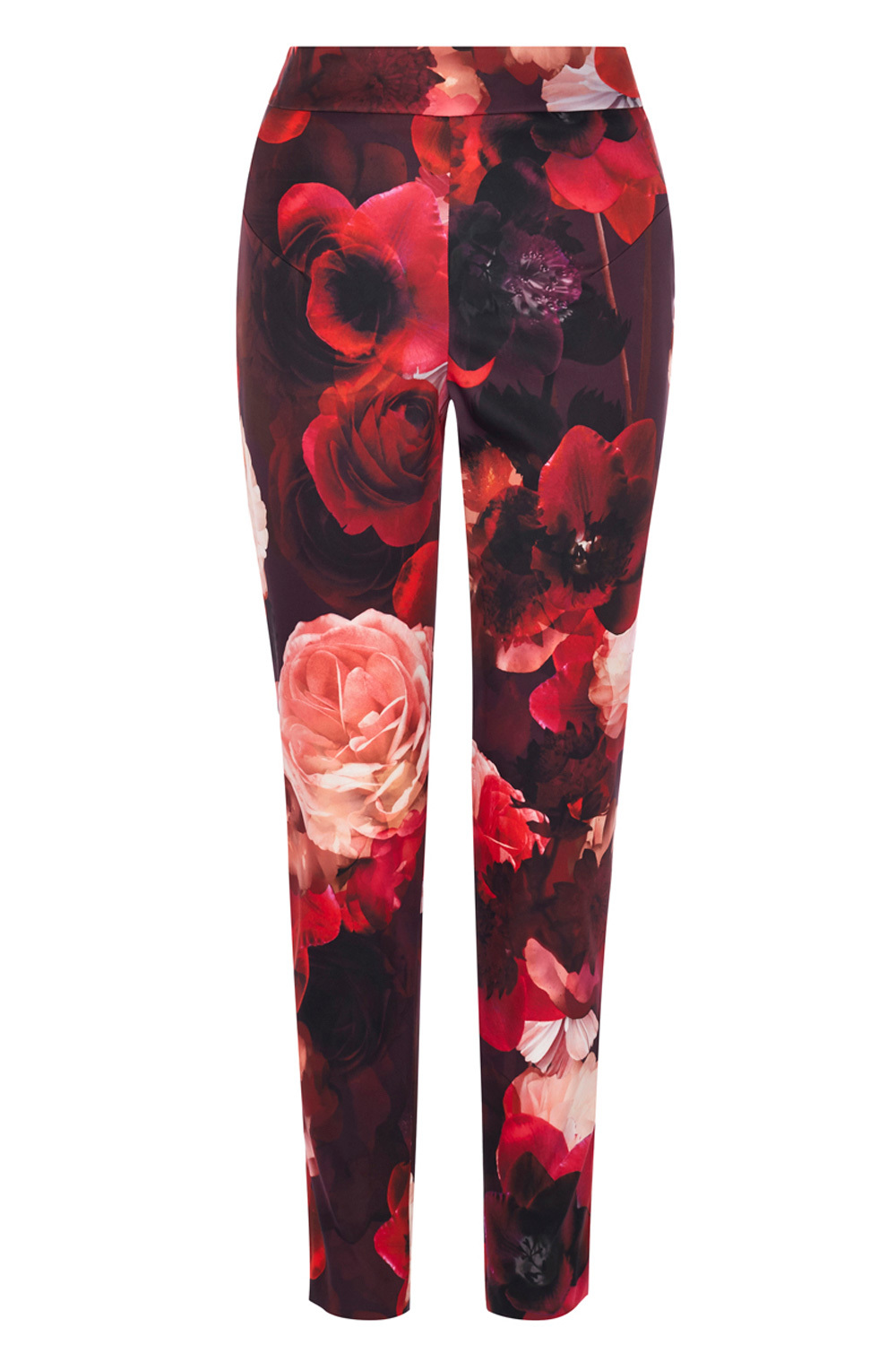 Rouge Print Trousers - length: standard; waist: mid/regular rise; secondary colour: true red; predominant colour: burgundy; occasions: casual; fibres: polyester/polyamide - 100%; fit: slim leg; pattern type: fabric; pattern: florals; texture group: woven light midweight; style: standard; pattern size: big & busy (bottom); season: s/s 2016; wardrobe: highlight