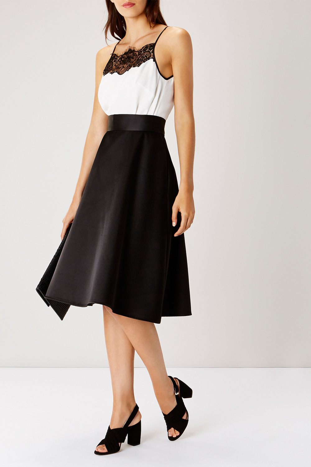 Coro Skirt - pattern: plain; style: full/prom skirt; fit: loose/voluminous; waist: high rise; predominant colour: black; length: on the knee; fibres: polyester/polyamide - stretch; occasions: occasion, creative work; hip detail: soft pleats at hip/draping at hip/flared at hip; pattern type: fabric; texture group: other - light to midweight; season: s/s 2016