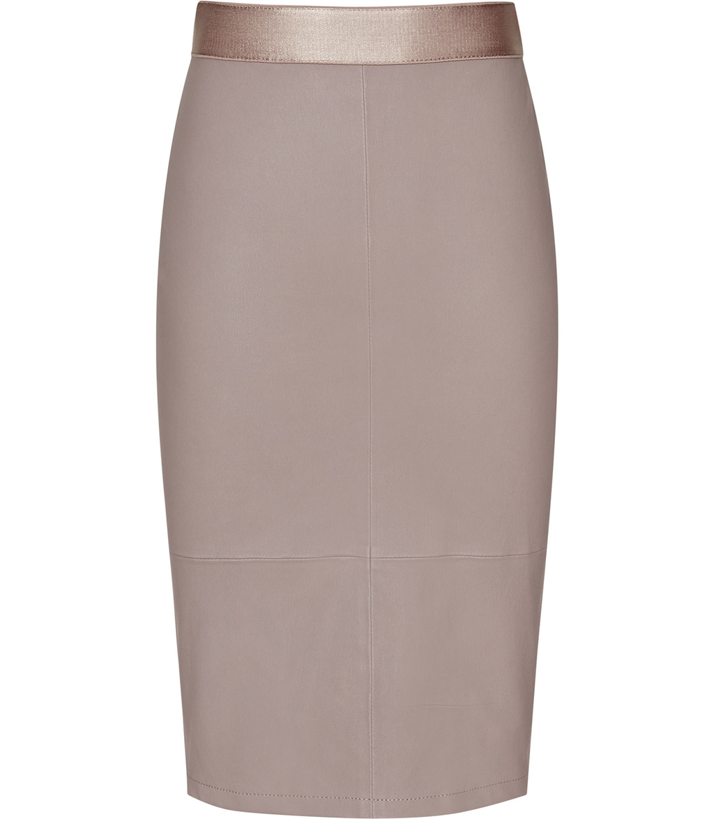 Megan Womens Stretch Leather Pencil Skirt In Brown - pattern: plain; style: pencil; fit: tailored/fitted; waist: high rise; predominant colour: taupe; occasions: evening; length: on the knee; fibres: leather - 100%; texture group: leather; pattern type: fabric; season: s/s 2016; wardrobe: event