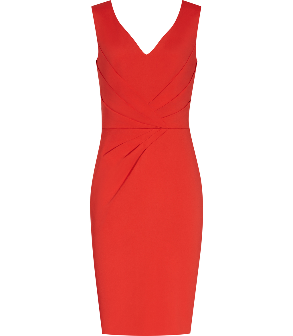 Alessandra Womens Tailored Dress In Orange - style: shift; neckline: v-neck; fit: tailored/fitted; pattern: plain; sleeve style: sleeveless; predominant colour: bright orange; occasions: evening, occasion; length: just above the knee; fibres: viscose/rayon - stretch; sleeve length: sleeveless; pattern type: fabric; texture group: woven light midweight; season: s/s 2016
