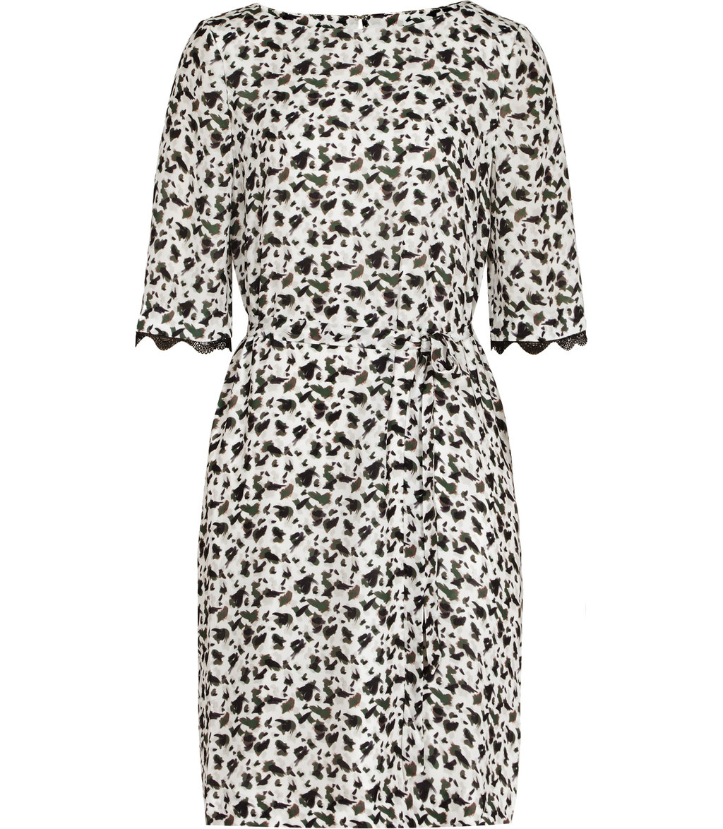 Noemie Womens Printed Dress In Cream - style: shift; fit: tailored/fitted; predominant colour: ivory/cream; secondary colour: navy; occasions: evening, creative work; length: just above the knee; fibres: polyester/polyamide - 100%; neckline: crew; sleeve length: short sleeve; sleeve style: standard; texture group: crepes; pattern type: fabric; pattern size: light/subtle; pattern: patterned/print; season: s/s 2016; wardrobe: highlight