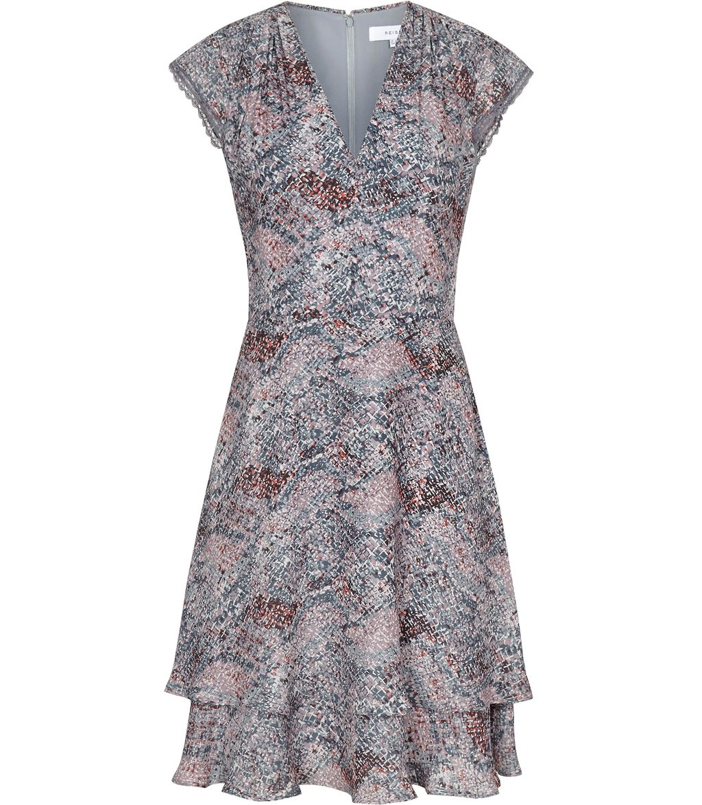 Angelika Womens Printed Day Dress In Grey - style: shift; neckline: v-neck; secondary colour: lilac; predominant colour: mid grey; occasions: evening; length: just above the knee; fit: soft a-line; fibres: polyester/polyamide - 100%; sleeve length: short sleeve; sleeve style: standard; pattern type: fabric; pattern size: light/subtle; pattern: patterned/print; texture group: other - light to midweight; season: s/s 2016