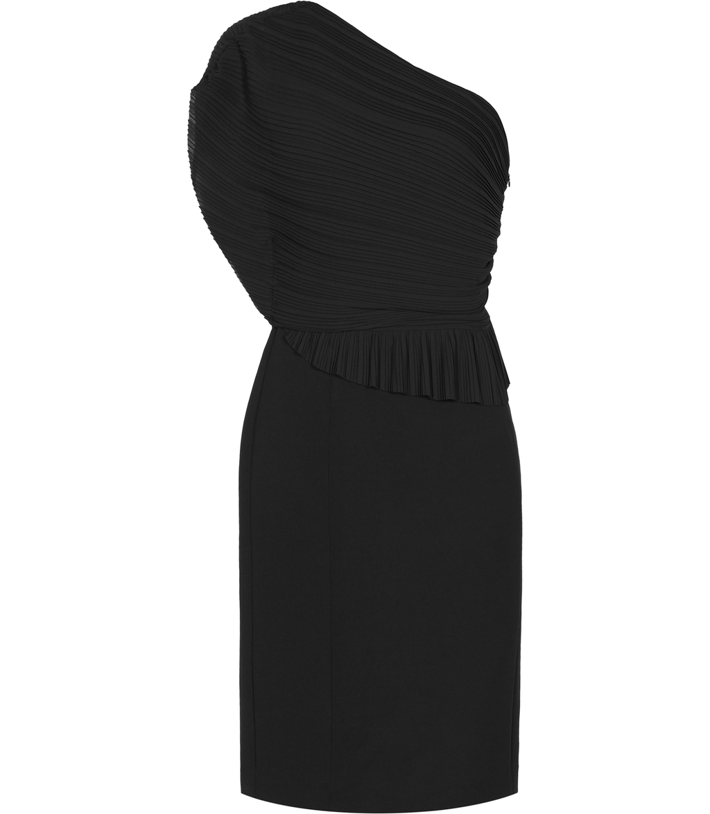 Jesse Womens Plisse Detail Dress In Black - style: shift; fit: tailored/fitted; pattern: plain; sleeve style: asymmetric sleeve; neckline: asymmetric; predominant colour: black; occasions: evening, occasion; length: on the knee; fibres: polyester/polyamide - 100%; sleeve length: sleeveless; pattern type: fabric; pattern size: standard; texture group: other - light to midweight; season: s/s 2016; wardrobe: event
