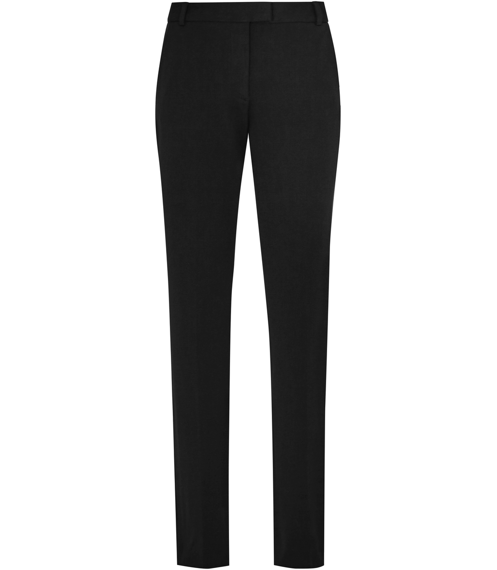 Joanne Womens Cropped Tailored Trousers In Black - pattern: plain; waist: mid/regular rise; predominant colour: black; occasions: work; length: ankle length; fibres: polyester/polyamide - mix; waist detail: feature waist detail; texture group: crepes; fit: slim leg; pattern type: fabric; style: standard; season: s/s 2016; wardrobe: basic