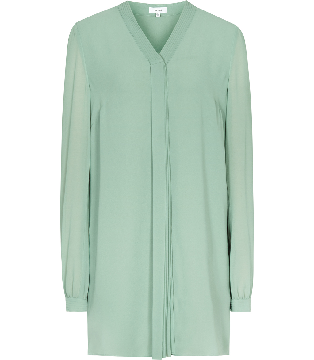 Santana Womens Plisse Detail Shirt In Green - neckline: v-neck; pattern: plain; length: below the bottom; style: blouse; predominant colour: pistachio; occasions: casual, creative work; fibres: silk - 100%; fit: loose; sleeve length: long sleeve; sleeve style: standard; texture group: crepes; pattern type: fabric; season: s/s 2016; wardrobe: highlight