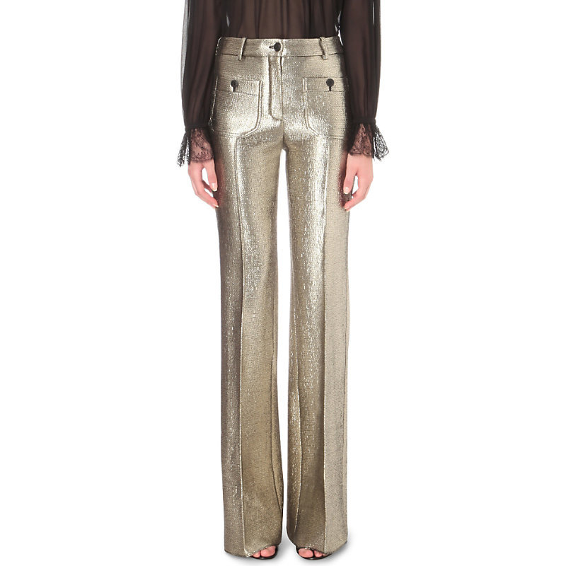 Wide Leg Metallic Jacquard Trousers, Women's, Silver - length: standard; pattern: plain; waist: mid/regular rise; predominant colour: gold; occasions: evening; fibres: wool - mix; fit: wide leg; pattern type: fabric; texture group: brocade/jacquard; style: standard; season: s/s 2016; wardrobe: event
