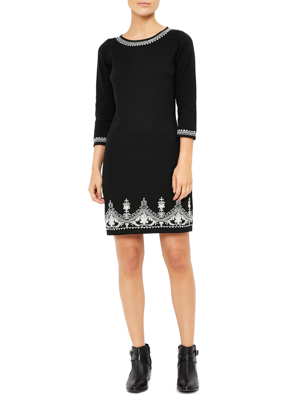 Tina Cornelli Knitted Dress - style: shift; secondary colour: white; predominant colour: black; occasions: evening; length: just above the knee; fit: body skimming; fibres: cotton - 100%; neckline: crew; sleeve length: 3/4 length; sleeve style: standard; pattern type: fabric; pattern: patterned/print; texture group: jersey - stretchy/drapey; embellishment: embroidered; multicoloured: multicoloured; season: s/s 2016; wardrobe: event; embellishment location: hem, neck, sleeve/cuff