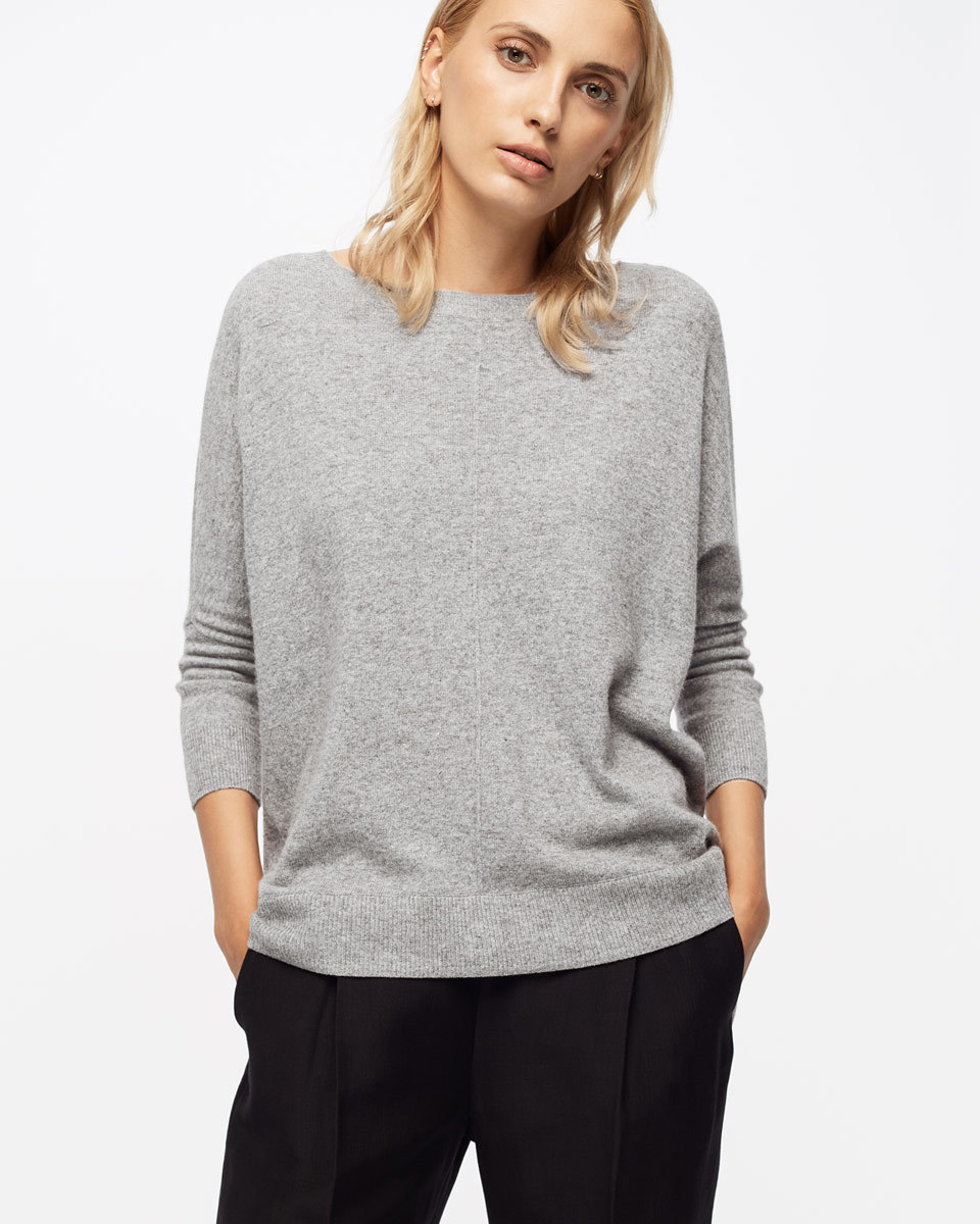 Button Back Drop Hem Sweater - pattern: plain; style: standard; predominant colour: light grey; occasions: casual; length: standard; fibres: wool - mix; fit: standard fit; neckline: crew; sleeve length: long sleeve; sleeve style: standard; texture group: knits/crochet; pattern type: fabric; season: s/s 2016; wardrobe: basic