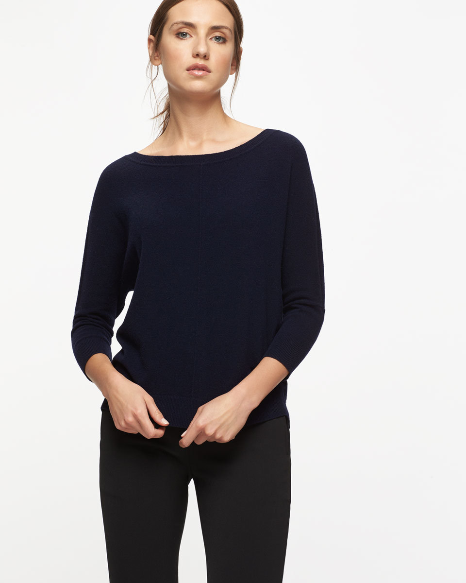 Button Back Drop Hem Sweater - neckline: round neck; pattern: plain; style: standard; predominant colour: navy; occasions: casual; length: standard; fibres: wool - mix; fit: standard fit; sleeve length: 3/4 length; sleeve style: standard; texture group: knits/crochet; pattern type: fabric; season: s/s 2016; wardrobe: basic