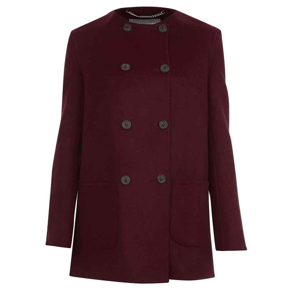 Collarless Double Breasted Button Coat - pattern: plain; length: below the bottom; collar: round collar/collarless; style: double breasted; predominant colour: burgundy; occasions: casual; fit: tailored/fitted; fibres: wool - mix; sleeve length: long sleeve; sleeve style: standard; collar break: high; pattern type: fabric; texture group: woven bulky/heavy; season: s/s 2016; wardrobe: highlight