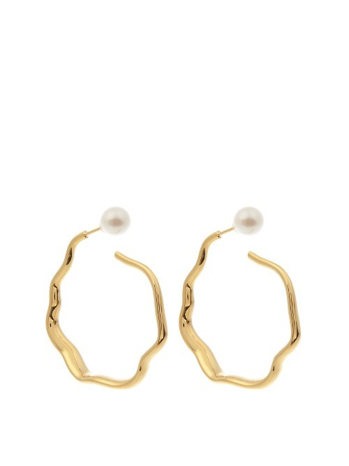 Relic Hoop Pearl And Gold Plated Earrings - predominant colour: gold; occasions: evening, occasion, creative work; style: hoop; length: mid; size: standard; material: chain/metal; fastening: pierced; finish: metallic; embellishment: pearls; season: s/s 2016; wardrobe: basic